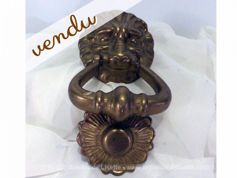 Heurtoir de porte lion en bronze le grenier de lisette - Heurtoir de porte tete de lion ...