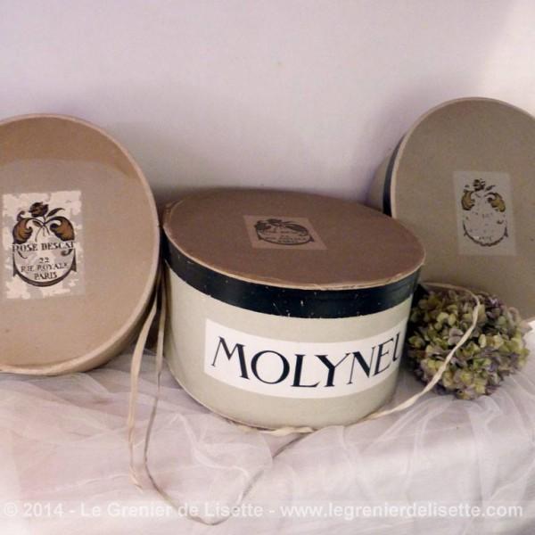 3 boites chapeaux gigogne molyneux. Black Bedroom Furniture Sets. Home Design Ideas