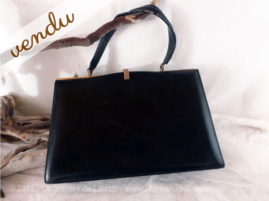 sac main en cuir noir vintage le grenier de lisette. Black Bedroom Furniture Sets. Home Design Ideas