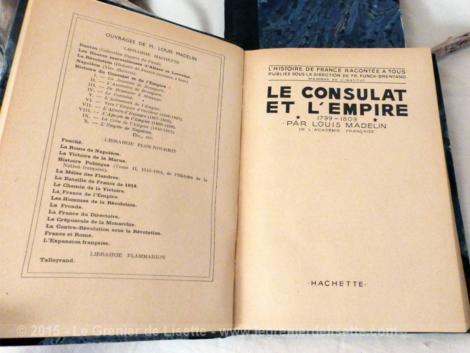 2 vieux livres datés de 1932 sur le consulat et l'empire de E. Madelin
