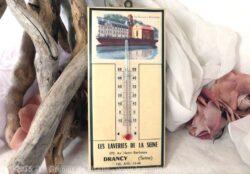thermomètre ancien en plaque émaillée publicitaire des Laverie de la Seine de Drancy