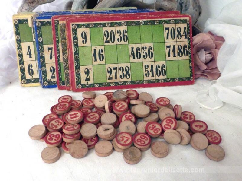 ancien jeu de loto aux jetons rouge le grenier de lisette. Black Bedroom Furniture Sets. Home Design Ideas
