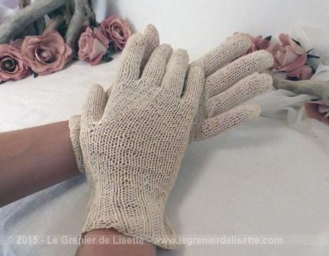 paire de gants fait main en laine cru le grenier de lisette. Black Bedroom Furniture Sets. Home Design Ideas