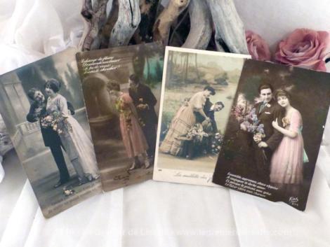 Lot de 7 cartes postales de couples amoureux avec texte et petite scénette.