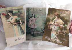 "Lot de 3 cartes postales anciennes ""Poisson d'Avril"" datant de 1917."