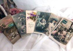 """Lot de six cartes postales anciennes représentant des enfants pour """"Joyeuses Pâques""""."""