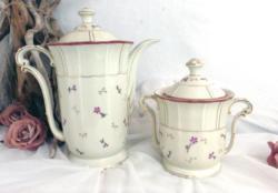 Belle cafetière verseuse et sucrier en porcelaine de L. Bernardaud & Co de Limoges.