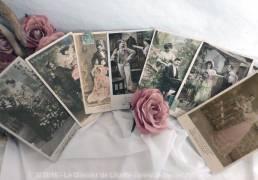 Lot de 7 cartes postales anciennes couple au jardin