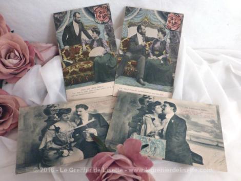 Lot de 4 cartes postales anciennes scénettes amoureux