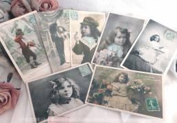Lot de 7 cartes postales enfants déguisés