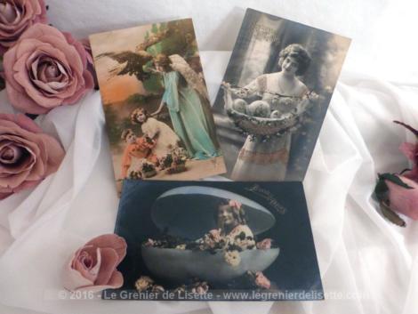 Lot de 3 cartes postales anciennes enfants Pâques