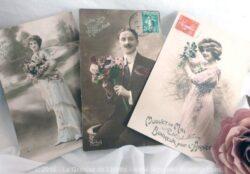 Lot de 3 cartes postales anciennes Sincères Affections
