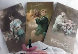 Lot de 2 cartes postales anciennes Enfants Bonne Fête