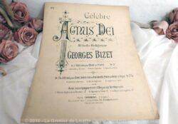 """Ancienne partition musique """"Agnus Dei"""" , médodie réligieuse par Georges Bizet, aux Editions Choudens à Paris."""