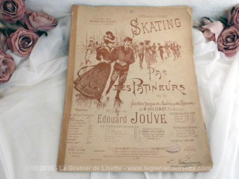 """Très ancienne partition """"Pas de Patineurs"""" , datée de 1897, avec théorie sur la nouvelle danse de salon."""