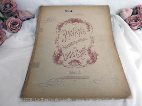 """Ancienne partition de musique """"Pavane, Air à danser du XVI° Siècle"""" par Louis Ganne, datant du début du siècle dernier."""