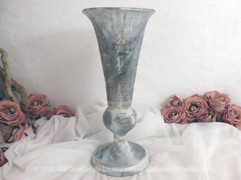 Vase en bois avec patine shabby le grenier de lisette - Vase en bois ...
