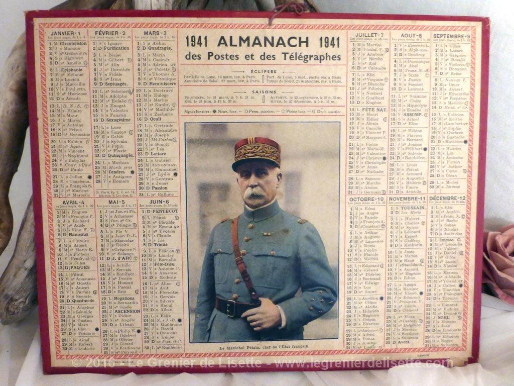 Calendrier 1941.Vendu Almanach Des Postes Et Telegraphes 1941 Le Grenier