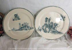 Deux assiettes en faïence Creil Montereau, modèle Polders, datant de la fin XIX°, de 23 cm de diamètre.