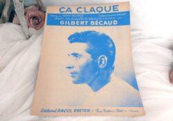 """Ancienne partition chanson """"Ça claque"""" de Becaud"""""""