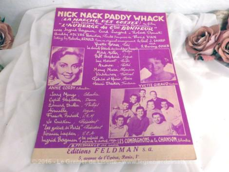 "Partition de chanson ""Nick Nack Paddy Whack"" de Annie Cordy"