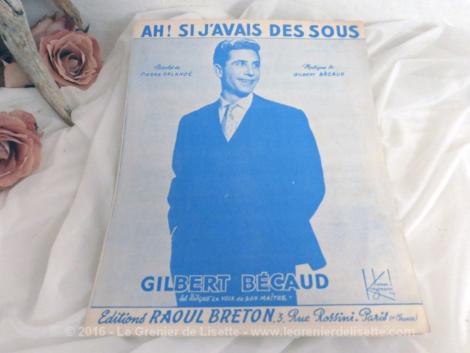 """Partition chanson """"Si j'avais des sous"""" de Gilbert Bécaud."""