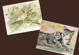 aquarelles-fond-marrn-chat-oiseaux