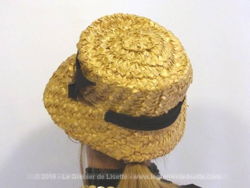 Ancien chapeau en sisal couleur paille et son ruban noir le grenier de lisette - Couleur jaune paille ...