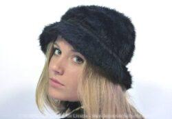 Ancien chapeau moumoute noir