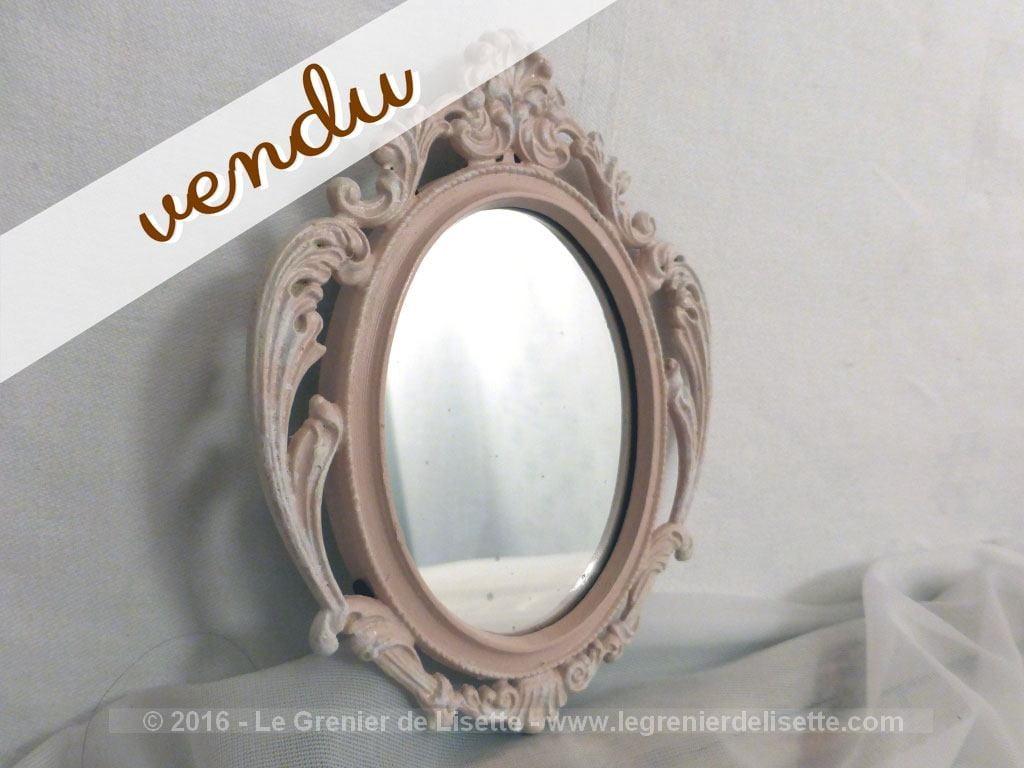 Petit miroir en r gule patin rose shabby le grenier de for Petit miroir