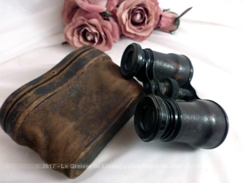 vendu ancienne paire de jumelles de th tre et son tui en cuir le grenier de lisette. Black Bedroom Furniture Sets. Home Design Ideas