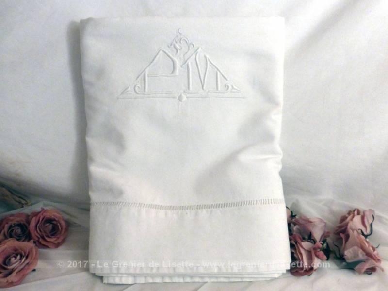 vendu ancien drap brod monogrammes pm le grenier de lisette. Black Bedroom Furniture Sets. Home Design Ideas