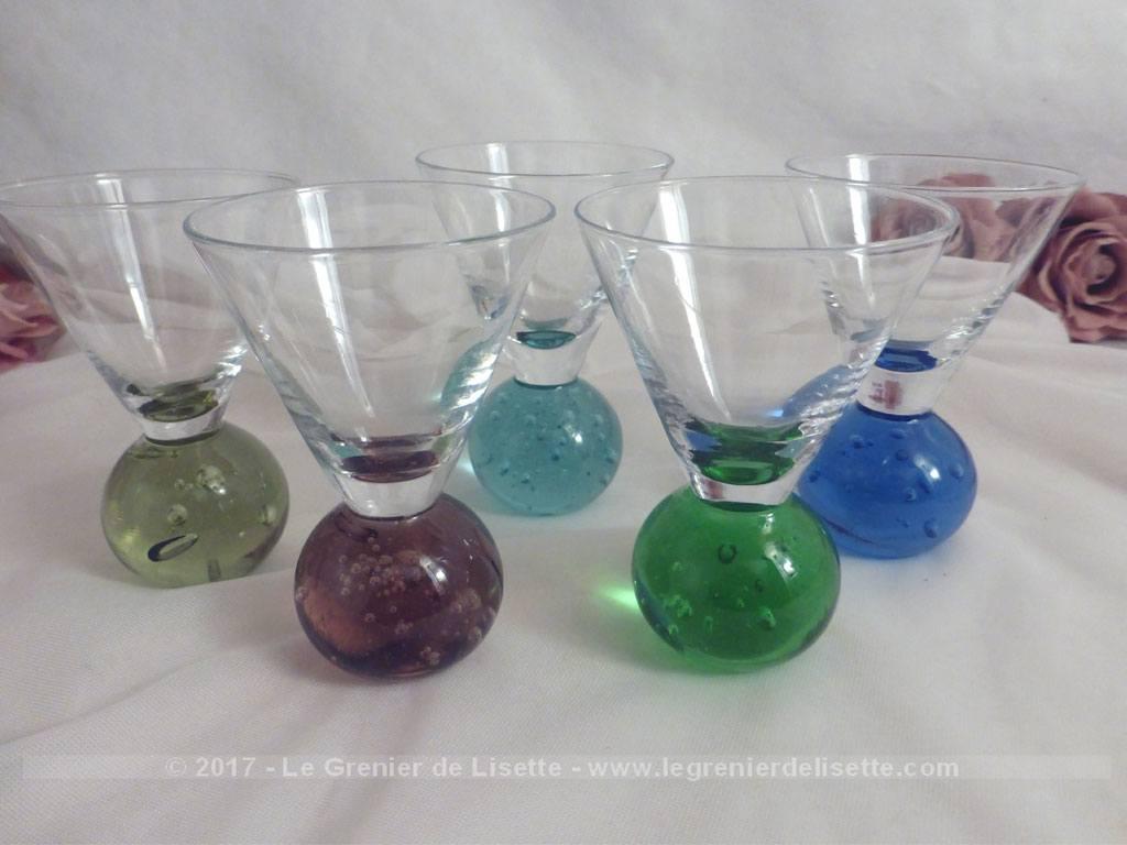 vendu lot de 5 verres forme boules en couleur le grenier de lisette. Black Bedroom Furniture Sets. Home Design Ideas