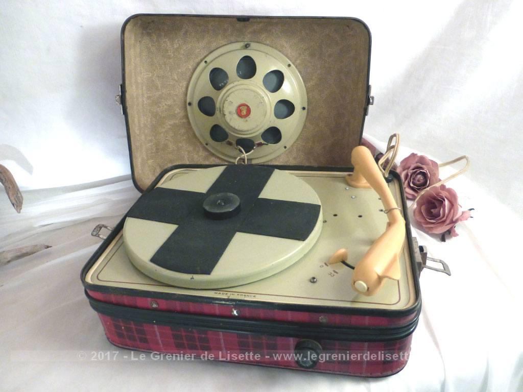 ancien tourne disque lectrophone ann es 50 pour d coration le grenier de lisette. Black Bedroom Furniture Sets. Home Design Ideas