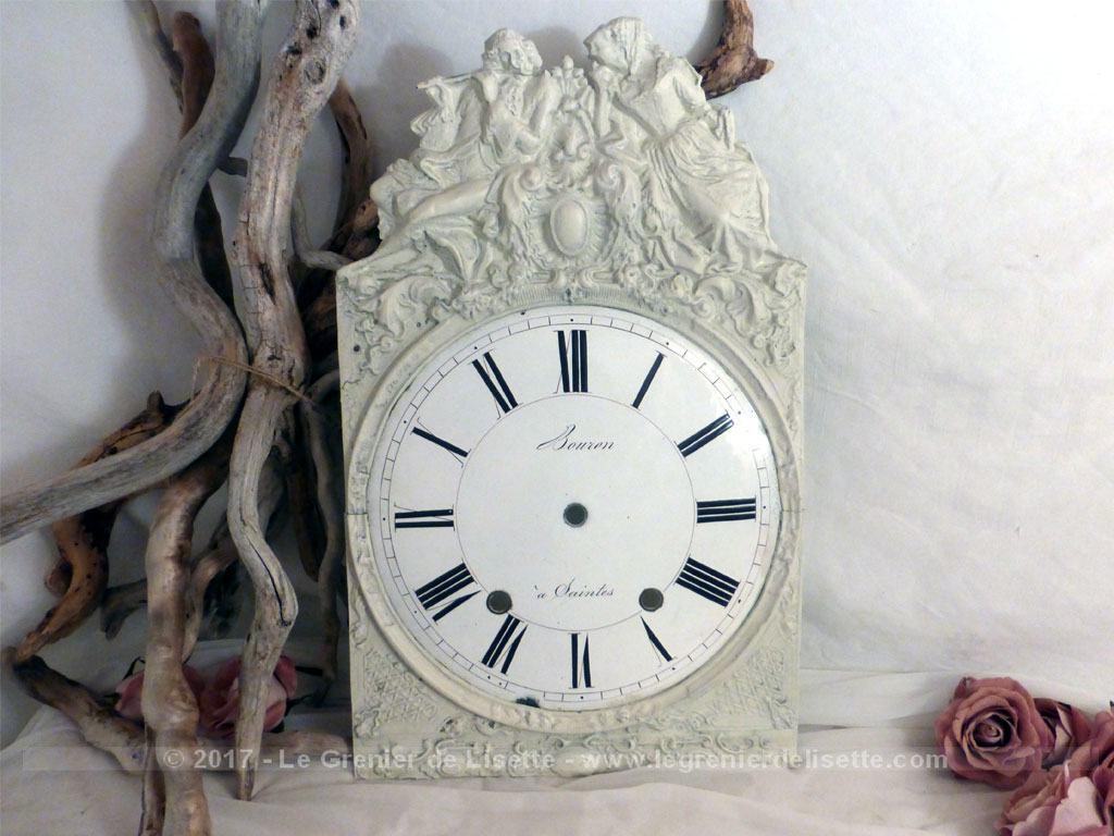 Ancienne fa ade de comtoise patin e shabby et son cadran - Decoration shabby en ligne ...