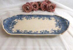 Ancien ravier rectangulaire aux fleurs bleues en faience Villeroy et Boch modèle Fides.