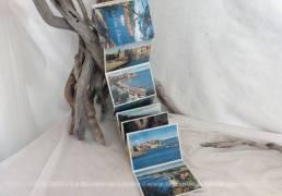 Petit dépliant touristique, vintage, de photos en couleurs de la Côte d'Azur.