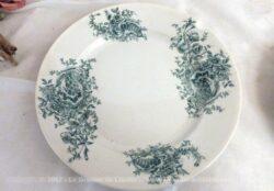 Duo d'assiettes de 22 cm de diamètre, en terre de fer aux beaux dessins de fleurs vertes, estampillées FP et modèle Lucie.