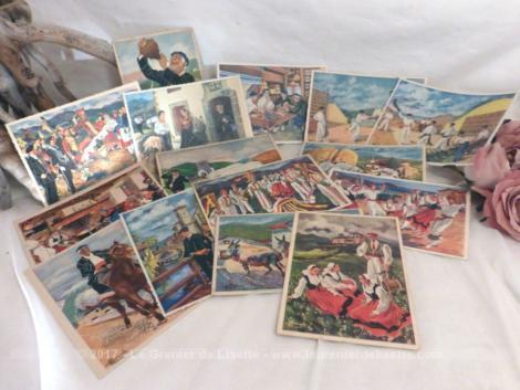 """Lot de 14 cartes postales """" En parcourant le Pays Basque"""" , datant des années 50."""