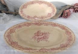 """Duo de plats ovales en terre de fer """"Creil et Montereau"""" modèle Watteau ."""