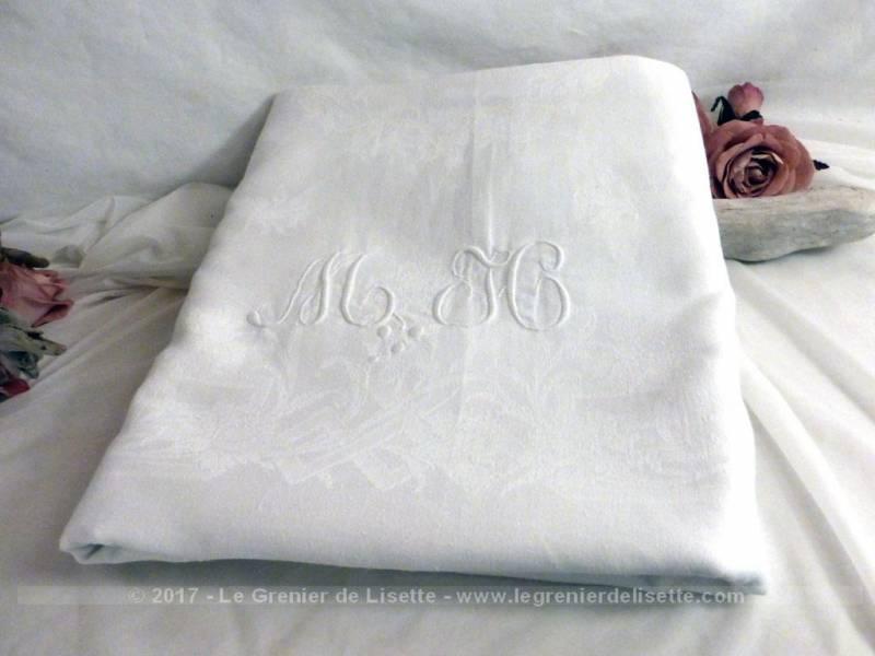 Ancienne nappe blanche damassée monogrammes MH - Le Grenier de Lisette
