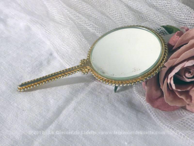 Vendu petit miroir main cusson porcelaine le for Petit miroir