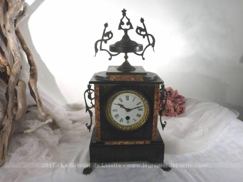 ancienne pendule marbre noir napol on iii le grenier de lisette. Black Bedroom Furniture Sets. Home Design Ideas