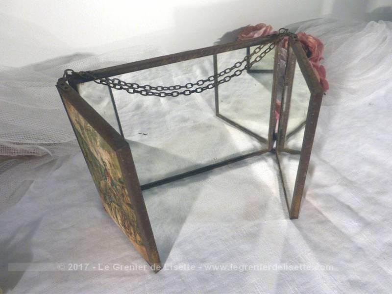 VENDU - Ancien petit miroir triptyque de barbier - Le Grenier de Lisette