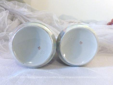 Duo de flacon en porcelaine , de couleur nacre et rose, pour huile et vinaigre.