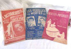 Trio anciennes partitions de grands succès des années 40/50.