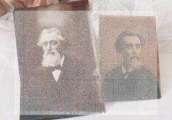 Lot de 2 photos anciennes d'un homme barbu à deux périodes de son vie , photos libre de droit à l'image.