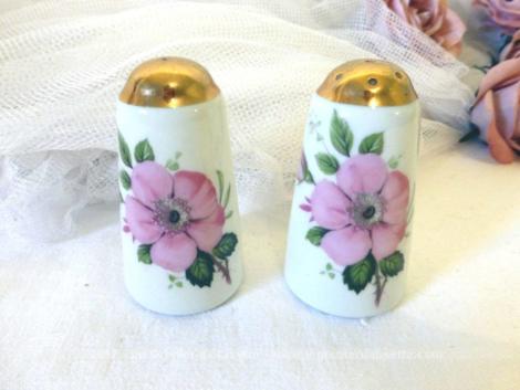 Salière et poivrière avec un dessins de fleurs roses et tout en porcelaine de Limoges.