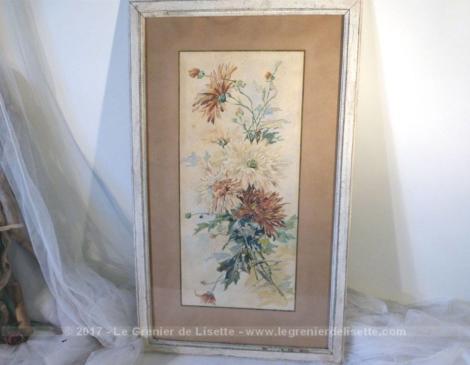 Ancien encadrement d'une aquarelle datée du 23 février 1900.