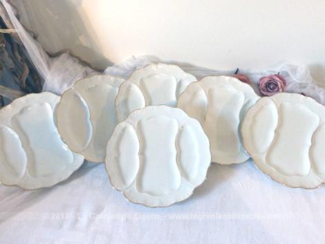 Lot de 6 assiettes faïence blanche service à asperges avec ses 3 compartiments.